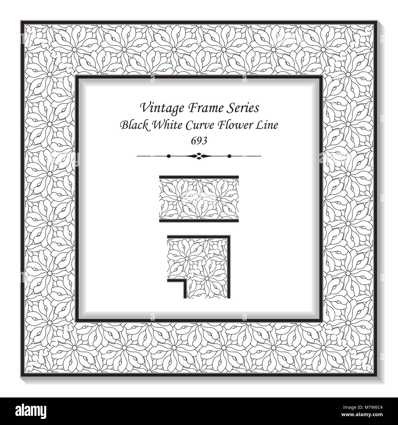 Flower Frame Black White Square Stock Vector Images - Alamy