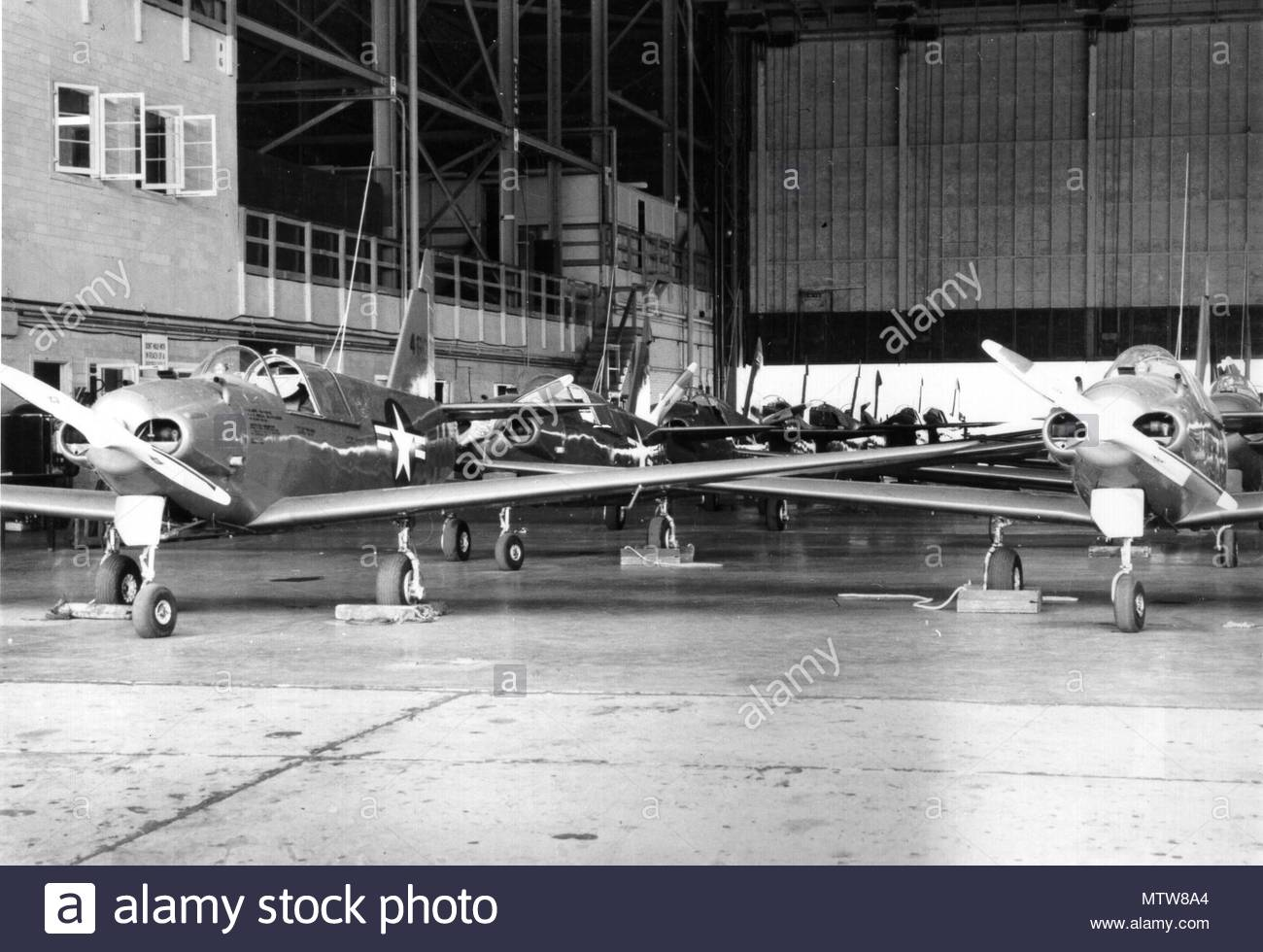 Numerous PQ-14s 'Cadet' aircraft are shown undergoing what appears to be maintenance and inspection checks at Tinker Field, Oklahoma. These checks were routinely conducted during delivery and acceptance review by the Army Air Corps. Courtesy photo Tinker History Office - Stock Image
