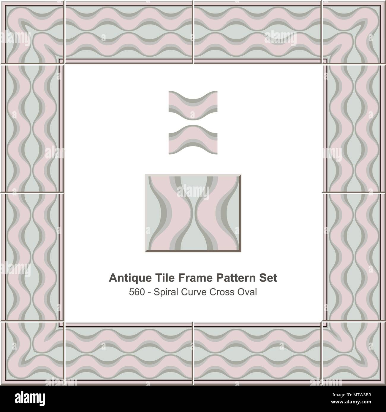 Antique tile frame pattern set spiral curve cross oval geometry ...