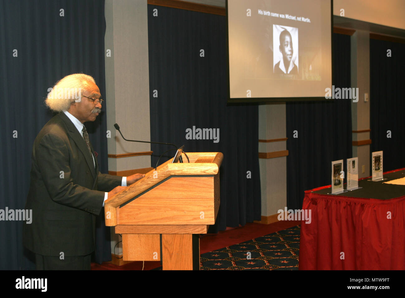 Dr. Floyd Rose of Madison, Wis., gives his presentation during the Fort McCoy observance of Martin Luther King Jr. Day on Jan 12, 2017, at McCoy's Community Center. Rose is a businessman who's worked for more than 40 years to evaluate, analyze, and develop policy for private- and public-sector organizations concerning sales growth, procurement practices, human-resource management, and policy. He holds leadership positions in multiple organizations, including the Wisconsin Diversity Procurement Network and 100 Black Men of America Inc. (Madison Chapter). (U.S. Army Photo by Scott T. Sturkol, Pu Stock Photo