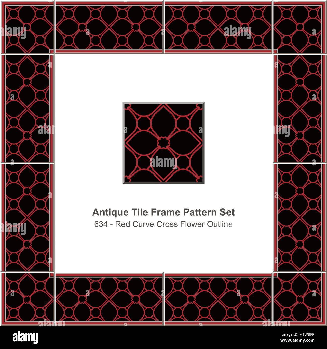 antique tile frame pattern set red curve cross flower outline