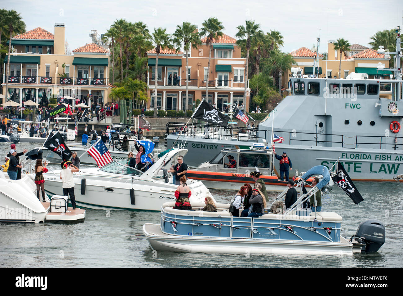 Crews from the Coast Guard, Coast Guard Auxiliary and Florida Fish and Wildlife Conservation Commission worked with local law enforcement agencies Saturday, Jan. 28, 2017 to keep waterways safe during the 2017 Gasparilla Parade and Pirate Festival in the Port of Tampa. U.S. Coast Guard Petty Officer 1st Class Michael De Nyse Stock Photo