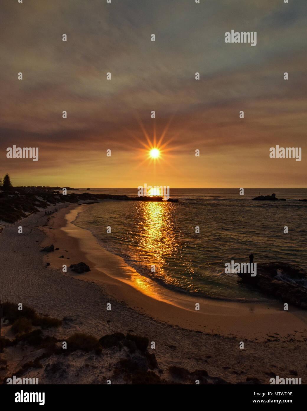 Sunset as seen at Bathurst Lighthouse, Rottnest Island, Western Australia - Stock Image