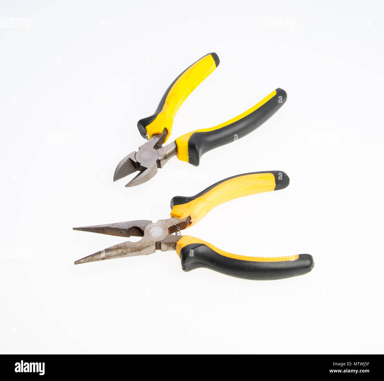 Pliers or The manual tool on a background - Stock Image
