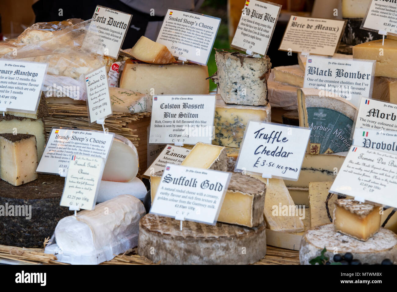 Speciality and Artisan cheese stall at a food festival. Oxfordshire, England - Stock Image