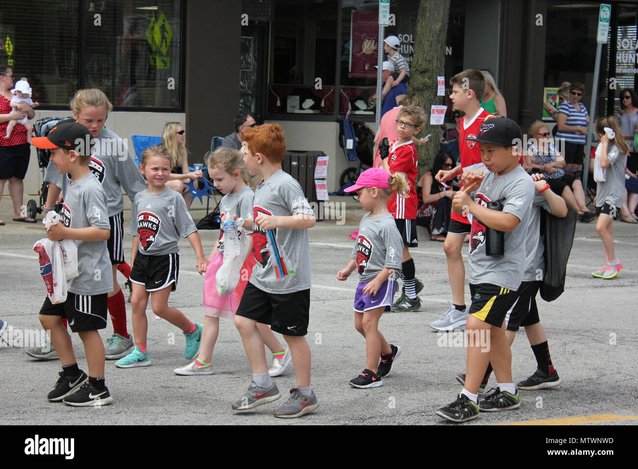 Scene from the Memorial Day Parade in small town Park Ridge, Illinois. - Stock Image