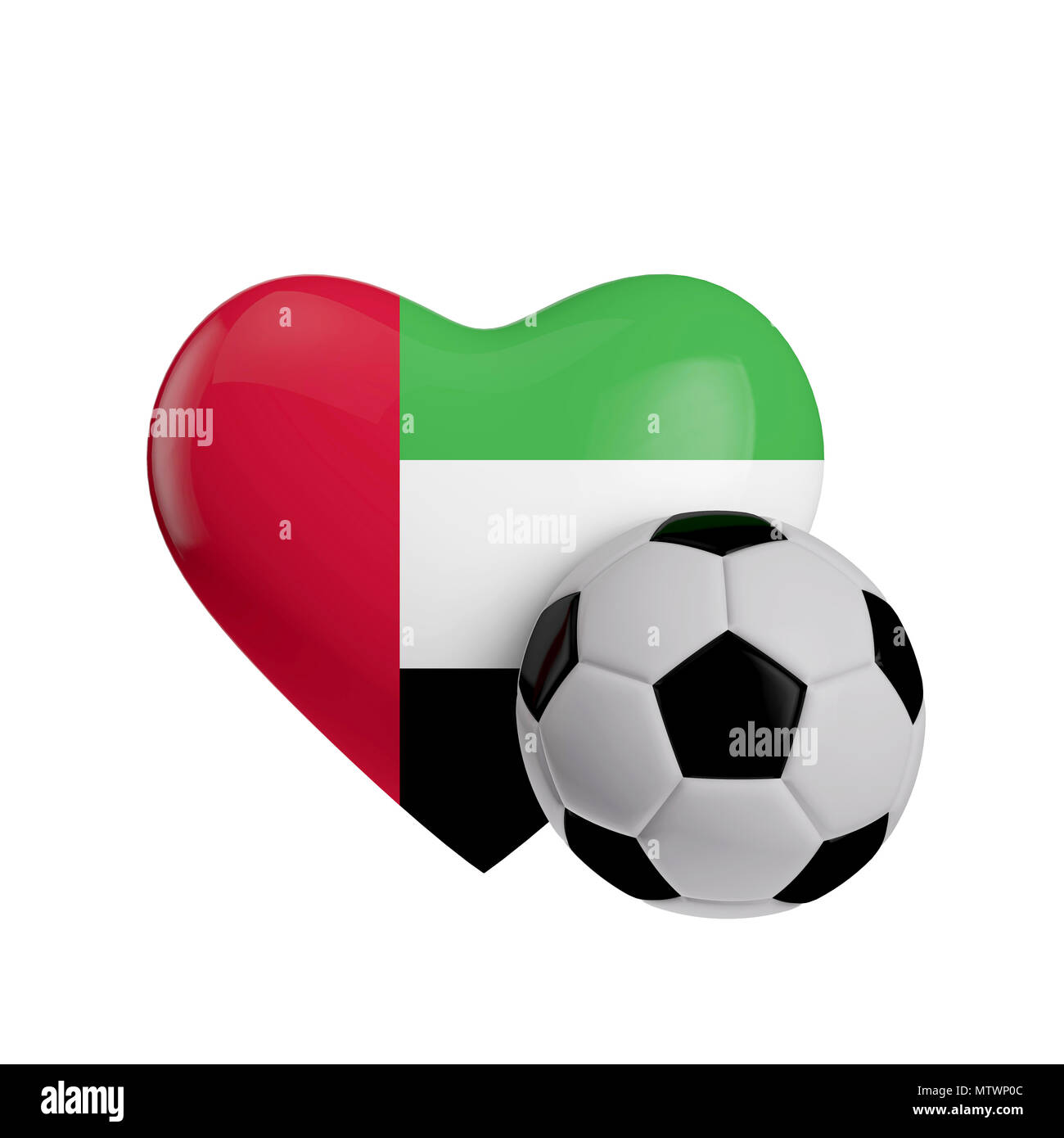 United Arab Emirates flag heart shape with a soccer ball. Love football. 3D Rendering - Stock Image