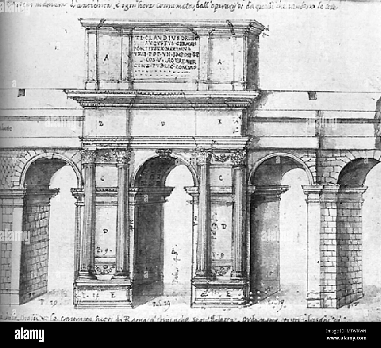 . Français: Reconstitution de l'arc de Claude de 52. Dessin de Pirro Ligorio (mort en 1583). 29 May 2008, 08:09:09. Pirro Ligorio (d.1583) 133 Claudiusarch2 Stock Photo