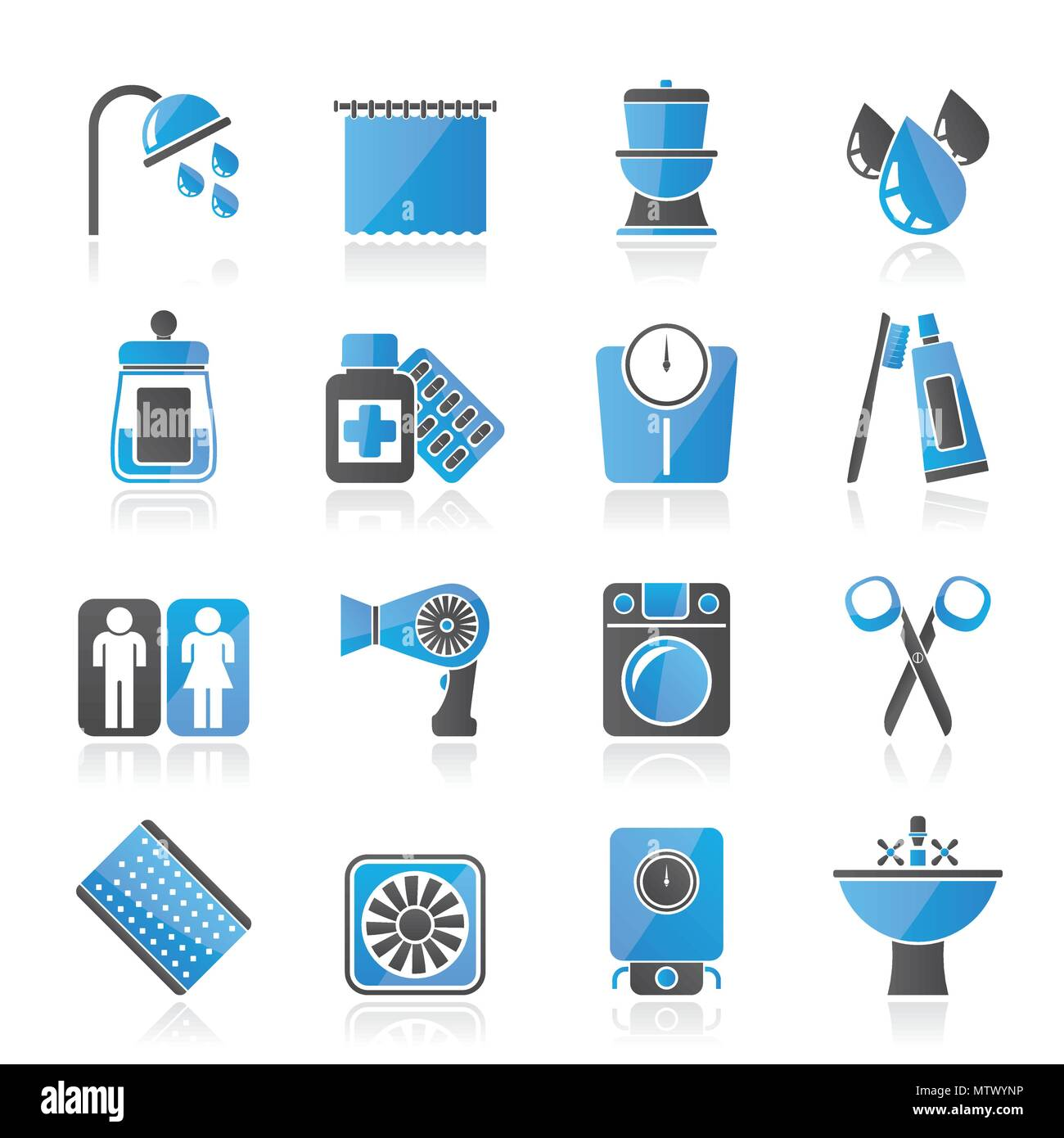 Bathroom and Personal Care icons- vector icon set 2 - Stock Image
