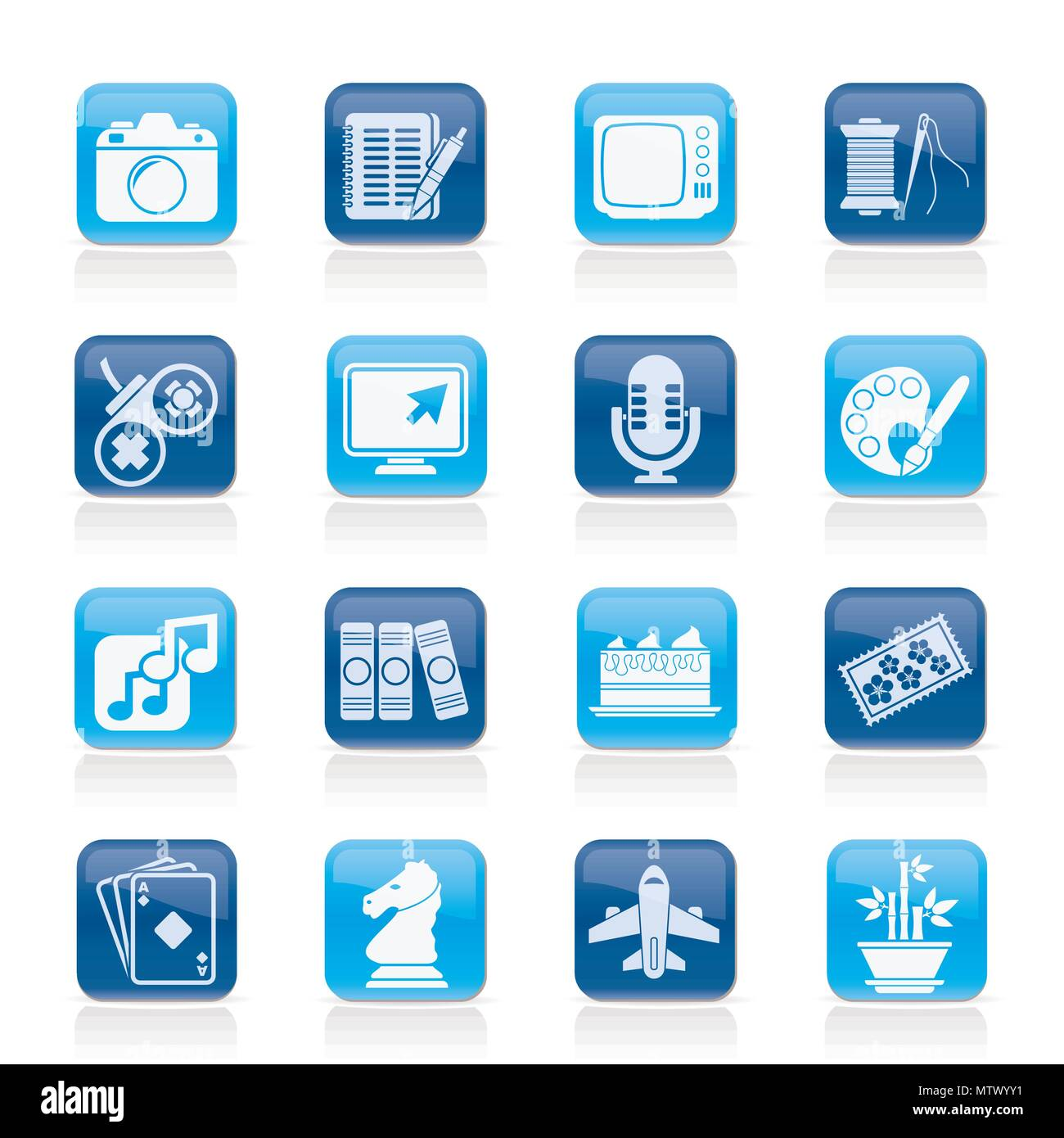 Hobbies and leisure Icons - vector icon set - Stock Image