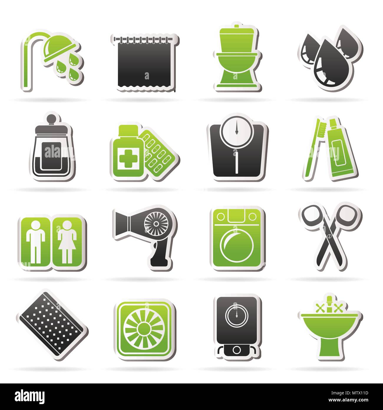 Bathroom and Personal Care icons- vector icon set 2 Stock Vector