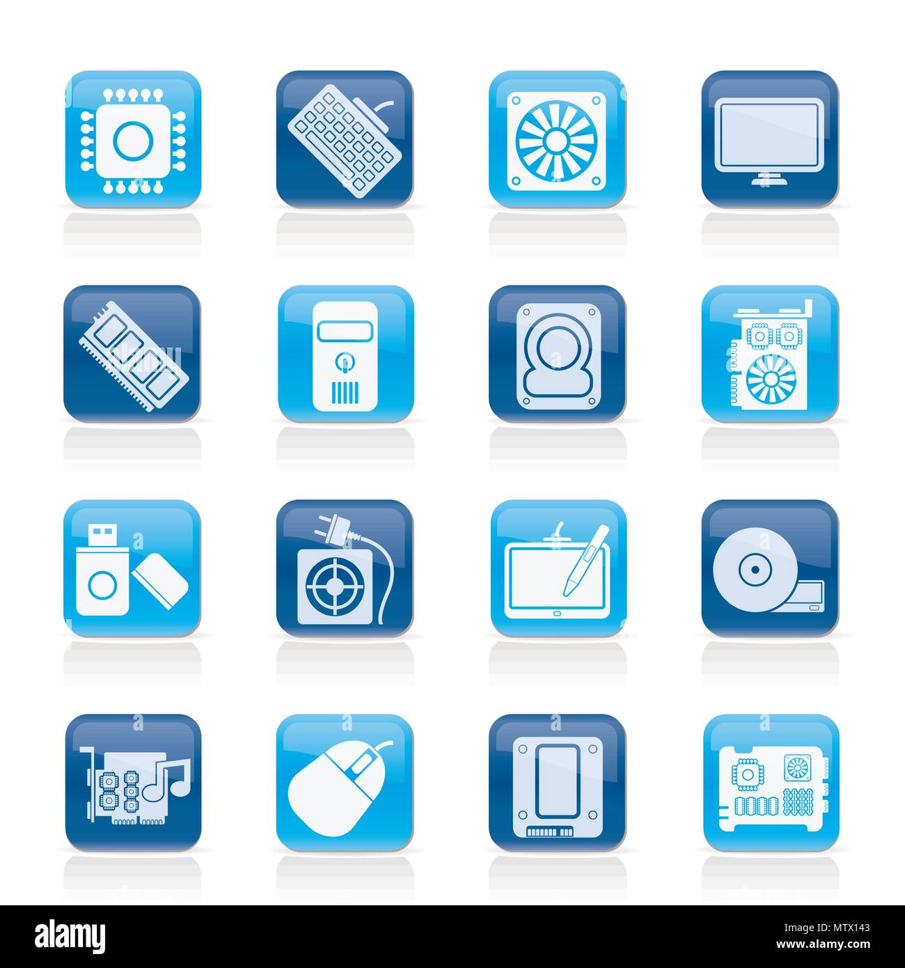 Computer part icons - vector icon set - Stock Image