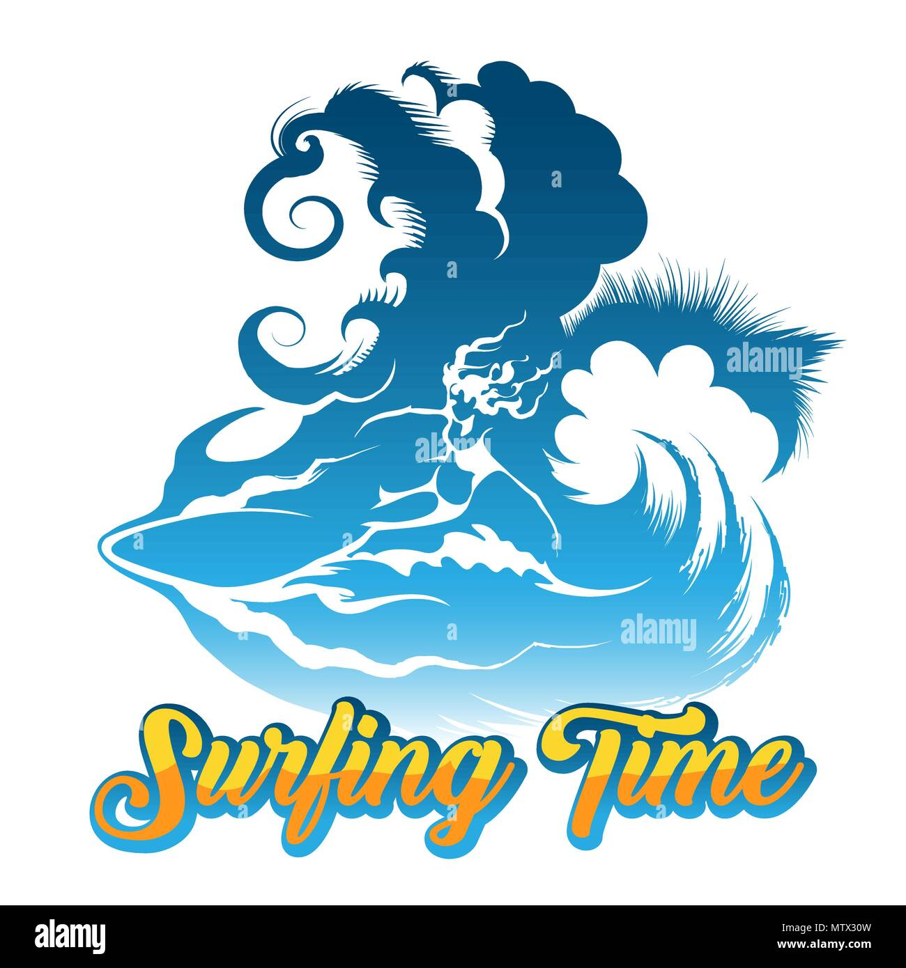 Surfing Girl ride on big Wave. Retro poster with wording Surfing Time. Vector Illustration. - Stock Vector