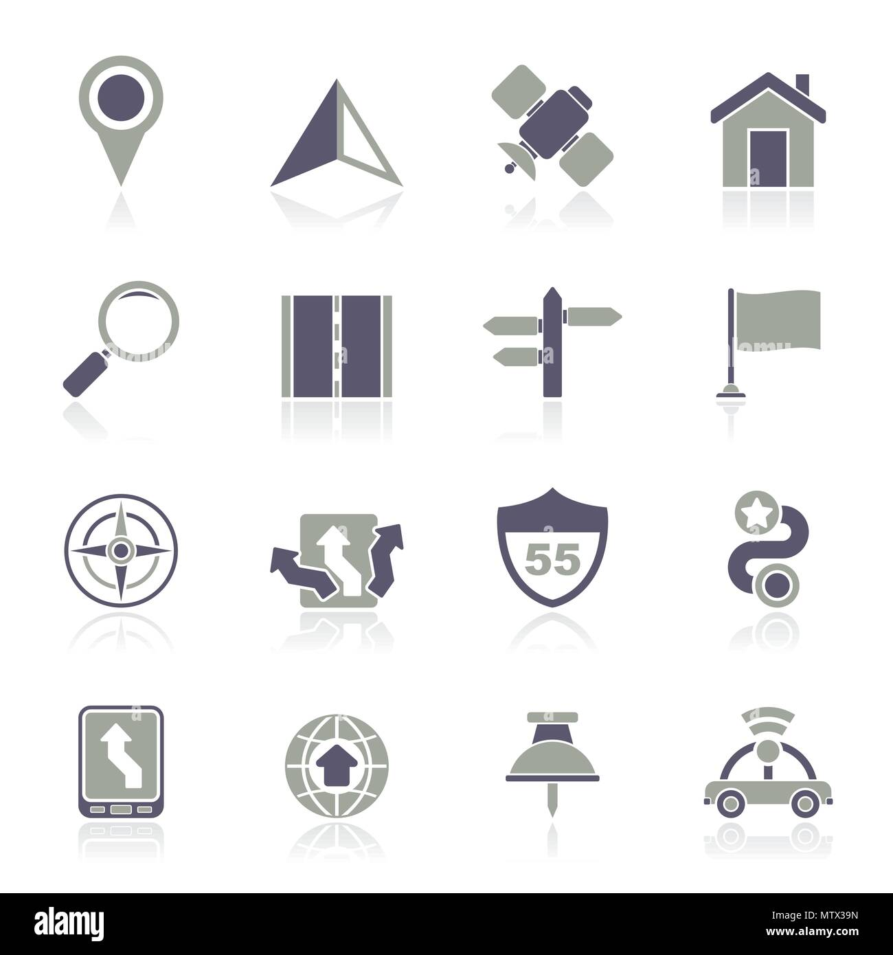 Gps, navigation and road icons - vector icon set Stock Vector
