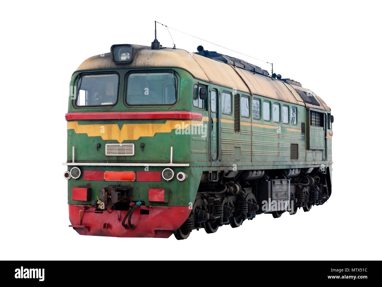 Russian diesel locomotive M62 isolated on white background - Stock Image