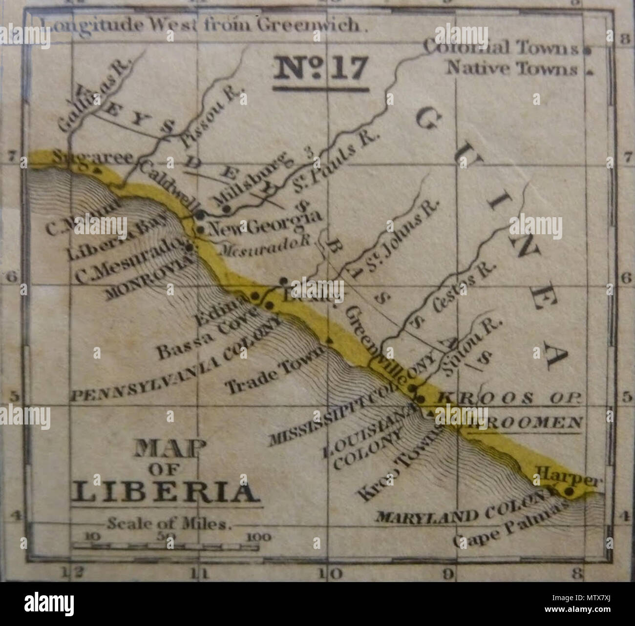 English: Old map of Liberia. 19th century. Unknown 454 Old Map ...