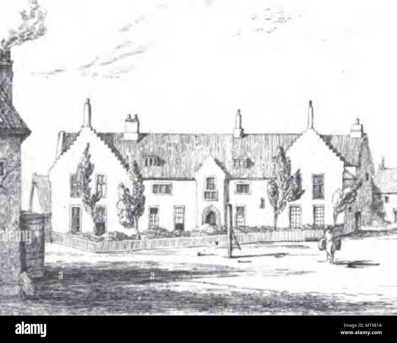 . English: Illustration of Gresham's School, Holt, from John William Burgon's The Life and Times of Sir Thomas Gresham (1839) 'from a sketch made on the spot in 1838' (detail). 1839 engraving from a sketch dated 1838. Unknown 454 Old School House, Holt, 1838 - Stock Image
