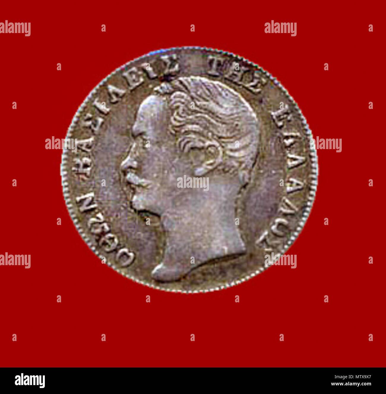 . King Otto 1/2 Drachma 1855 . 1855. Unknown 460 Otto Coin Stock Photo