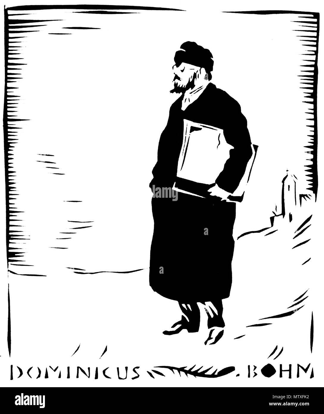. Deutsch: Scherenschnitt des Architekten Dominikus Böhm, Künstler: Rudolf Koch . 1919. Rudolf Koch († 1934) 545 Scherenschnitt dominikus boehm by rudolf koch 1919 Stock Photo