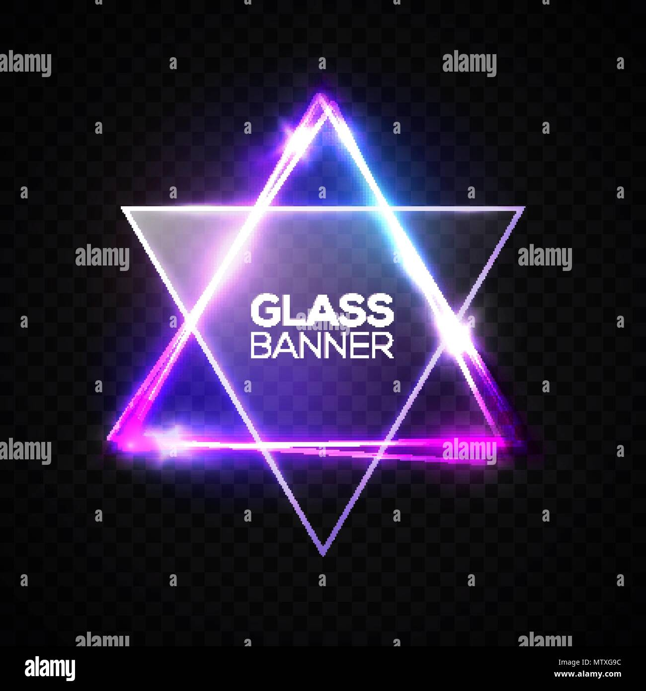 David star. Neon sign. Triangle banner with transparent glass plate. Judaism flag. Hebrew Israel glow symbol art. Electric abstract frame on transparent backdrop Religious light vector illustration. - Stock Vector
