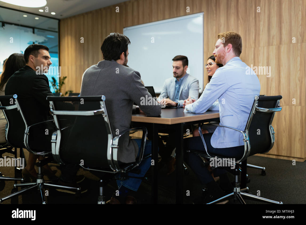 Picture of business meeting in conference room - Stock Image