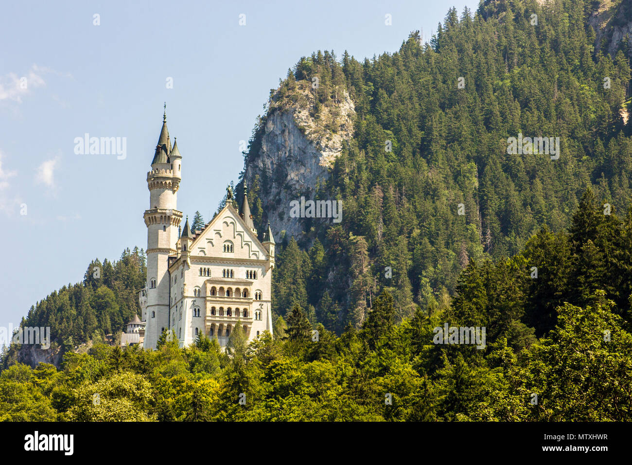 Schloss Neuschwanstein (New Swanstone Castle), a 19th-century Romanesque Revival palace commissioned by Ludwig II of Bavaria near Fussen, Germany - Stock Image