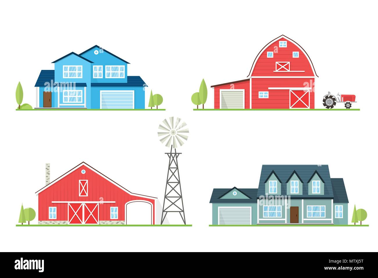 Vector flat icon suburban american house and old farm. For web design and application interface, also useful for infographics. Family farm and house i - Stock Image