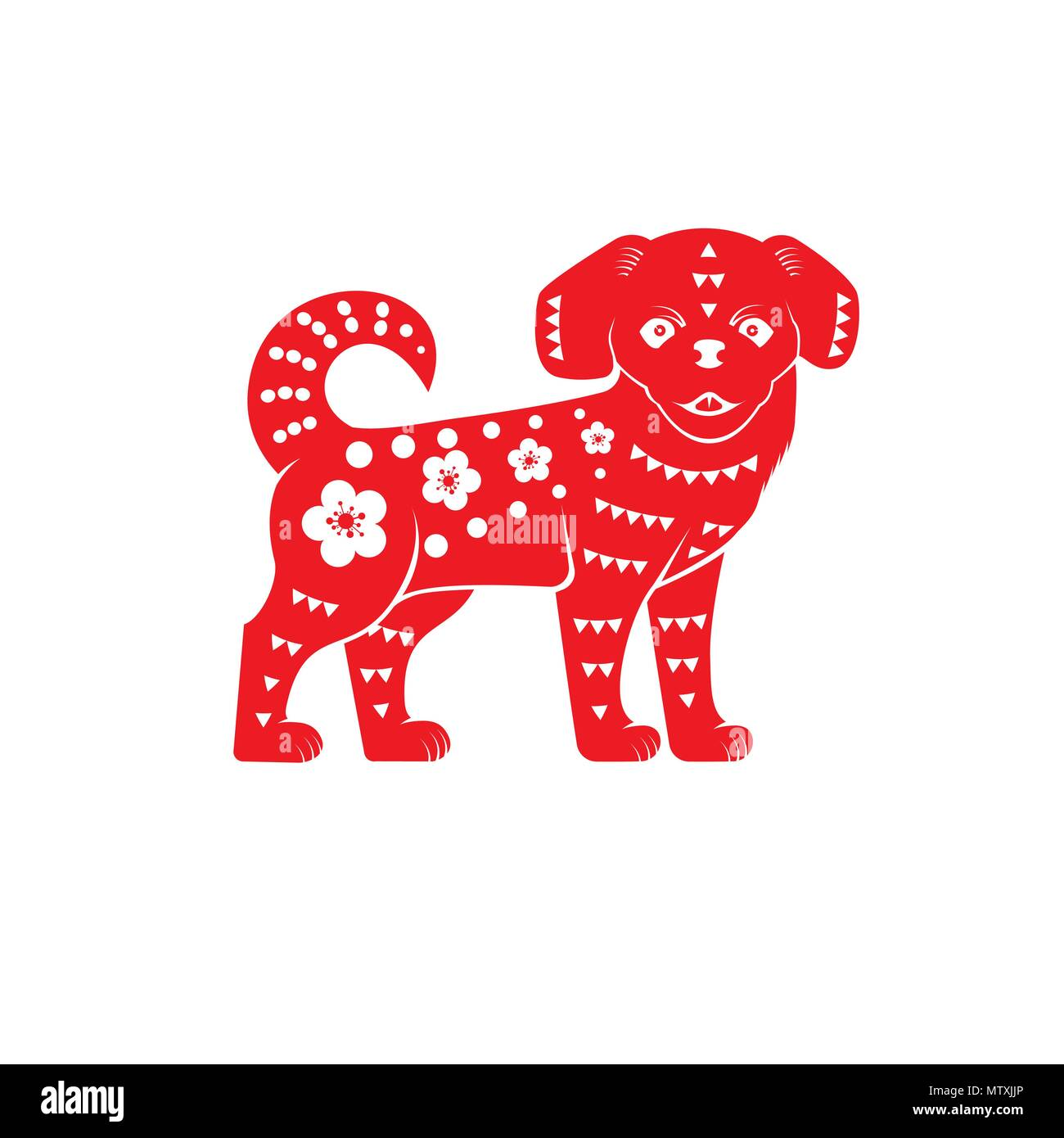 Red Chinese Dog On The White Background Vector Illustration Red