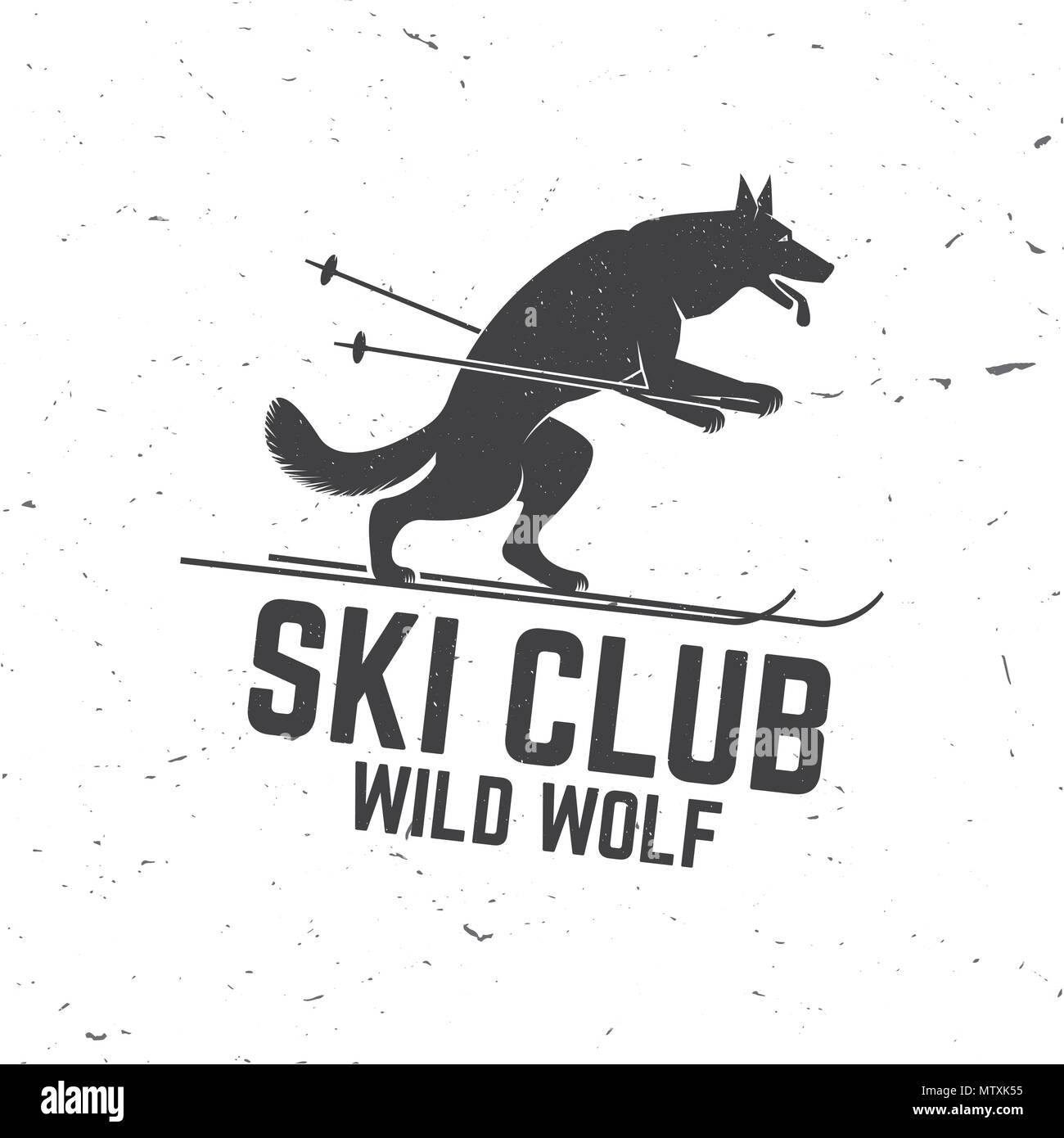 Ski club concept with wolf  Concept for shirt, print, seal or stamp