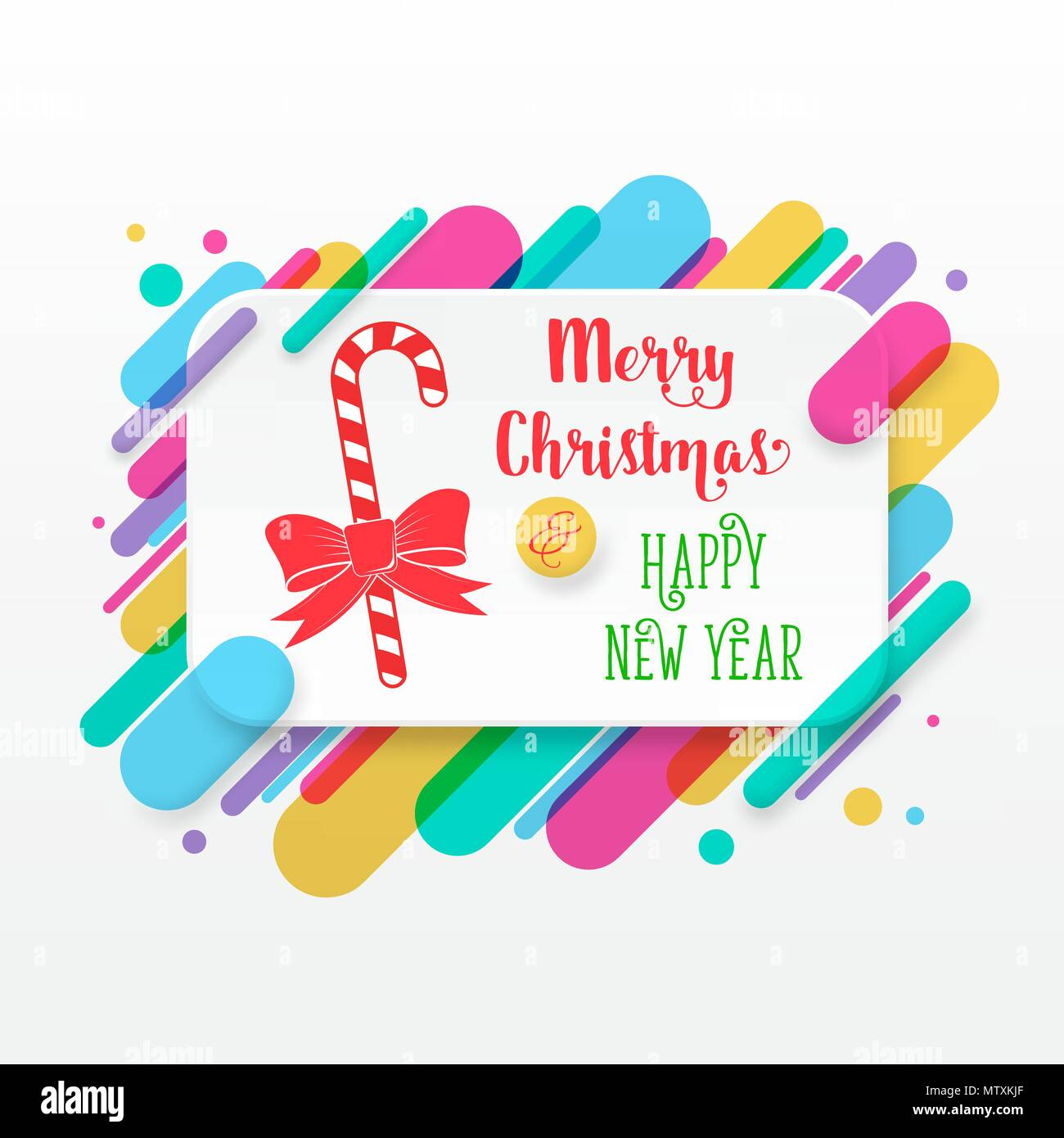 Merry Christmas and Happy New Year greeting card with abstract ...