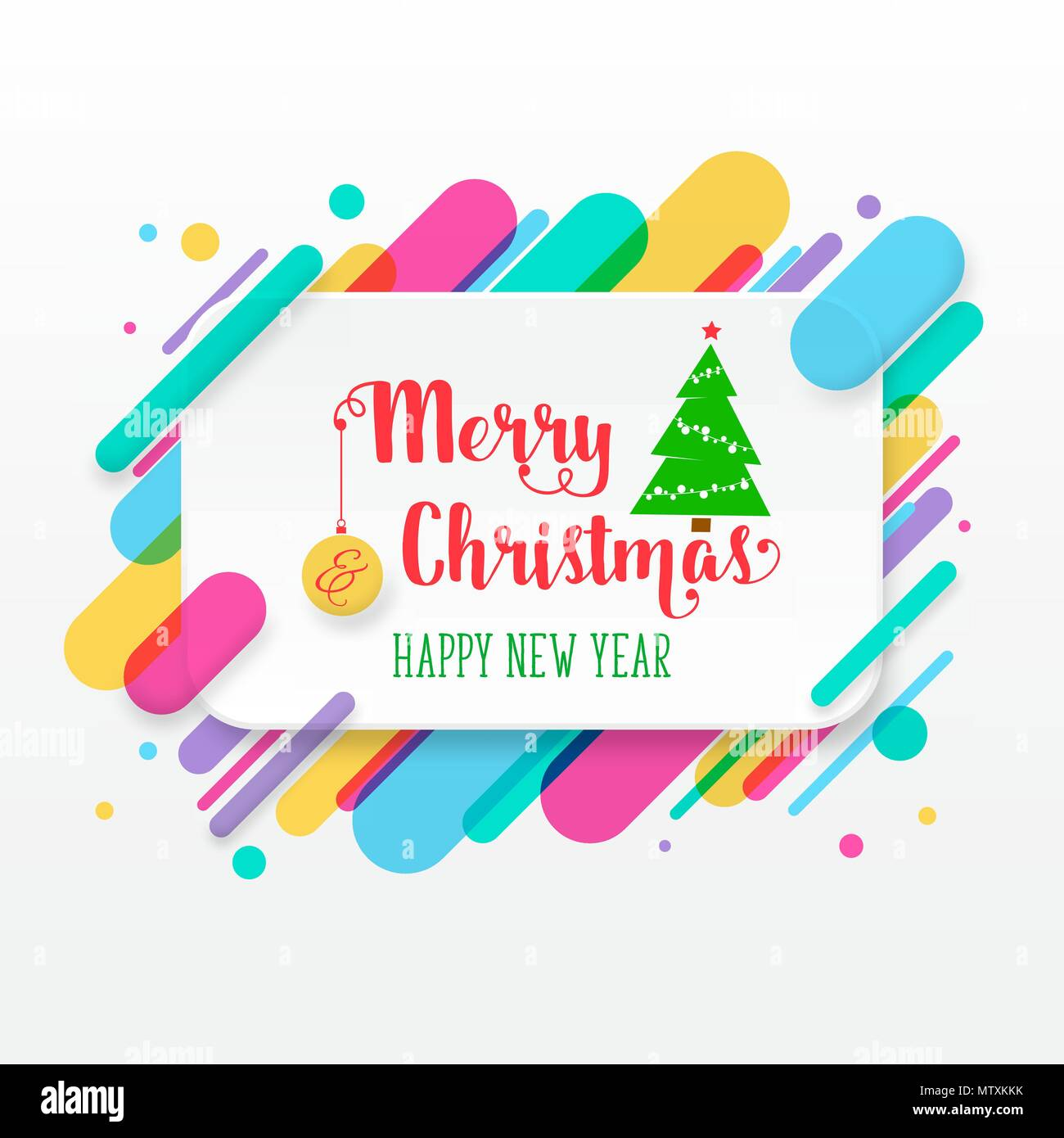 Merry christmas and happy new year greeting card with abstract merry christmas and happy new year greeting card with abstract colored rounded shapes lines in diagonal rhythm for greeting card poster brochure or m4hsunfo