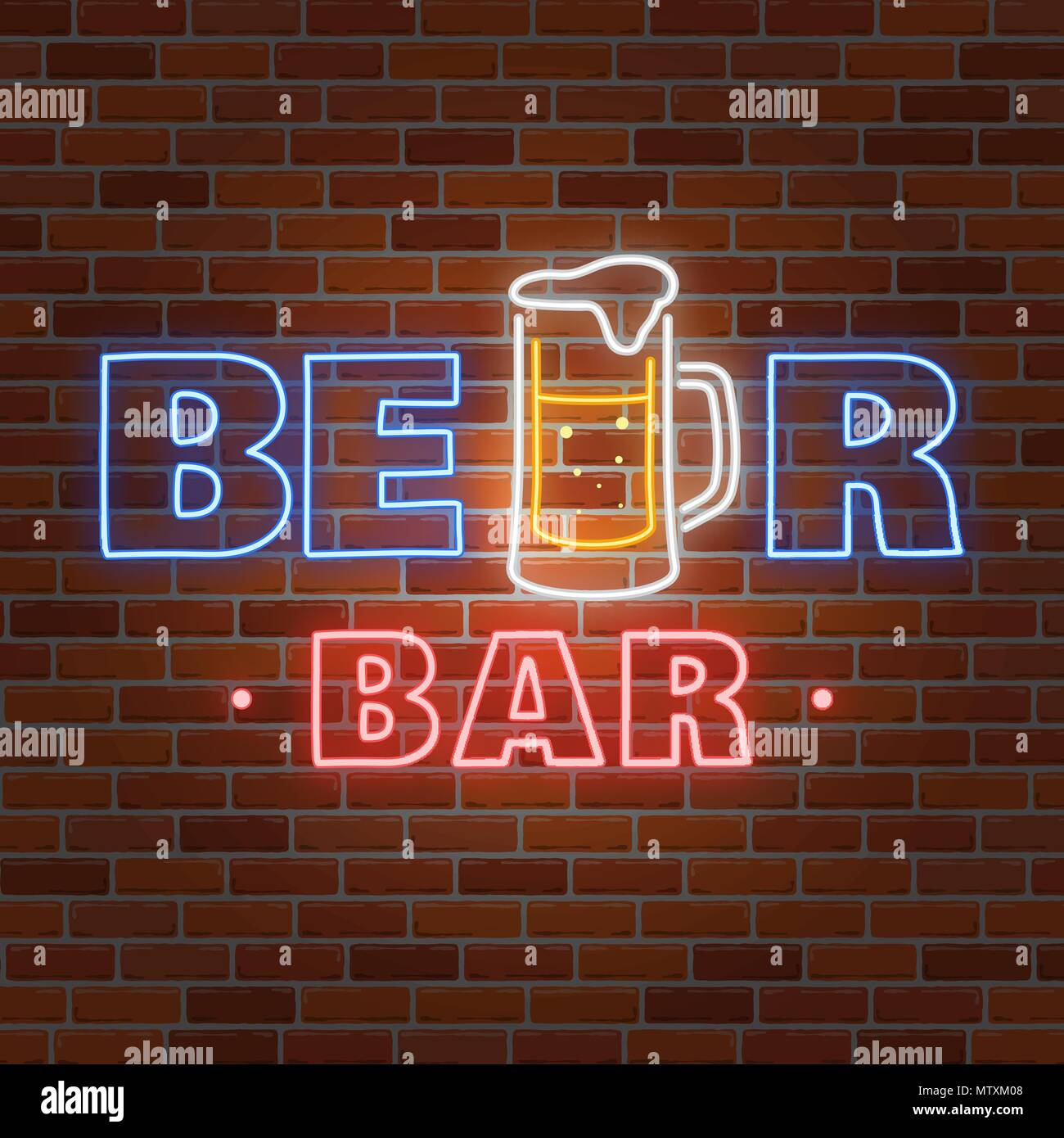 Retro neon Beer Bar sign on brick wall background. Vector