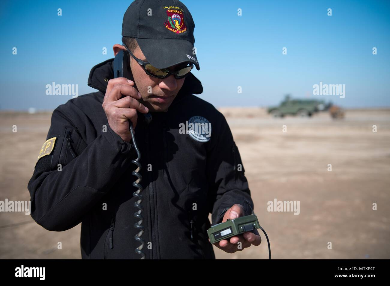 An Iraqi Counter-Terrorism Service trainee conducts high frequency communications training near Baghdad, Iraq, Jan. 30, 2017. ICTS is Iraq's elite counter-terrorism force and has proven to be an effective fighting force against ISIL. This training is part of the overall Combined Joint Task Force – Operation Inherent Resolve building partner capacity mission to increase the capabilities of partnered forces fighting ISIL. CJTF-OIR is the global Coalition to defeat ISIL in Iraq and Syria. (U.S. Army photo by Staff Sgt. Alex Manne) - Stock Image