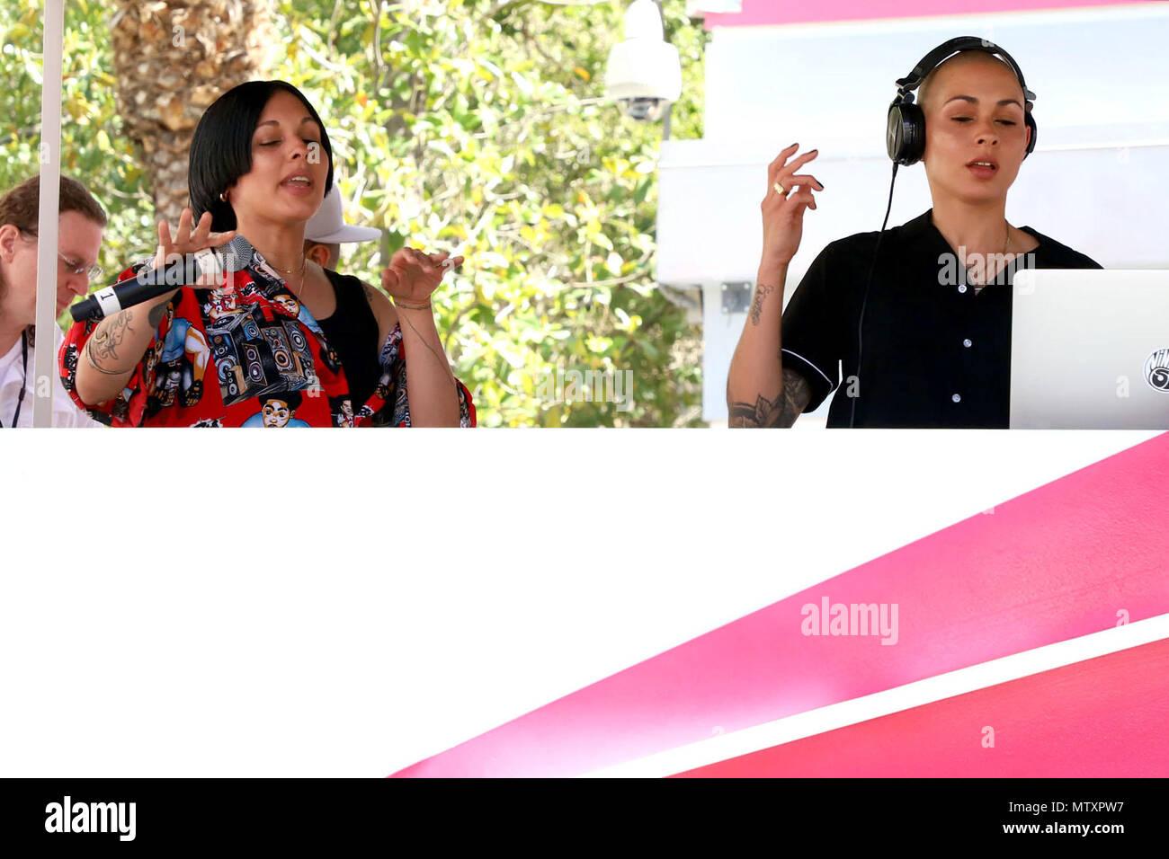 Nina Sky during their DJ set at Go Pool inside Flamingo