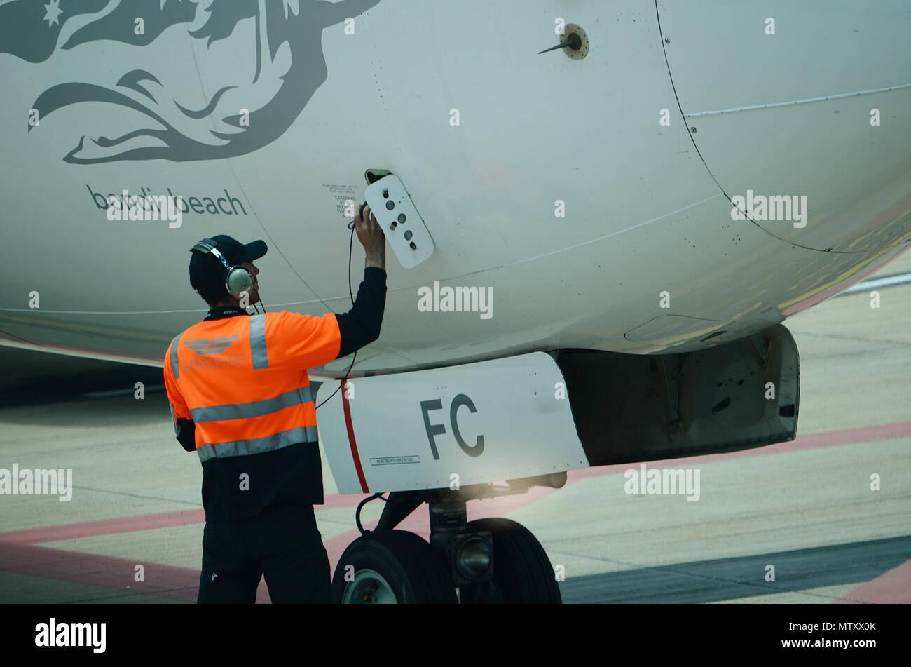 passenger jet, pre flight checks - Stock Image