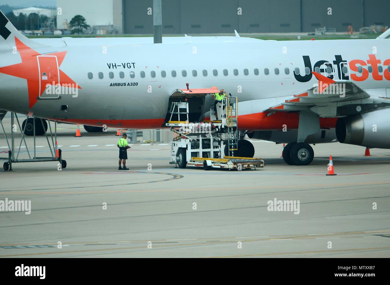 passenger jet at airport - Stock Image