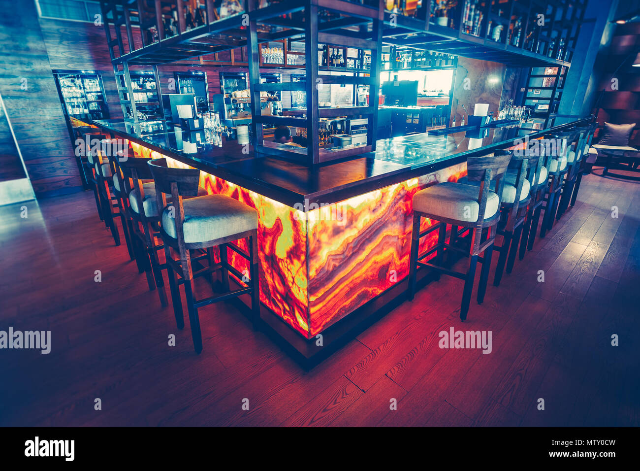 The Contemporary Bar Counter With The Equipment And The Comfortable Bar Chairs In The Modern Restaurant Stylish Inside Decor The Dark Blue And Red Color Combination Stock Photo Alamy