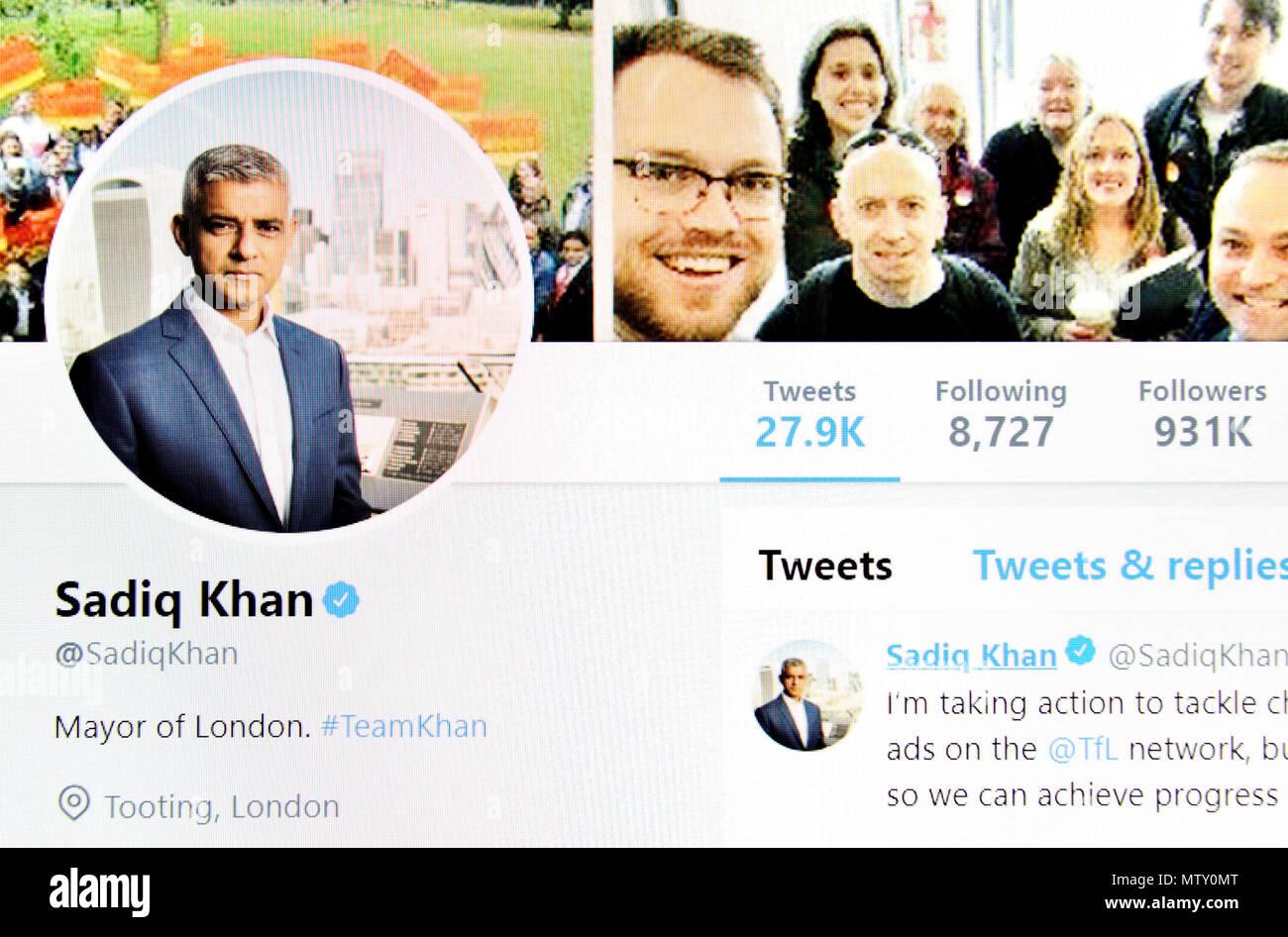 Sadiq Khan Twitter page (2018) - Stock Image