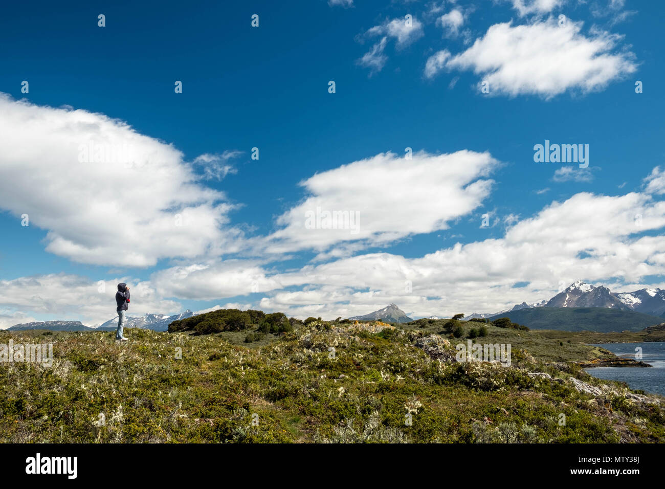 A tourist in Puerto Navarino enjoys the landscape of Isla Navarino, the Beagle Channel and its surroundings. This part of Chile is rather wild. - Stock Image
