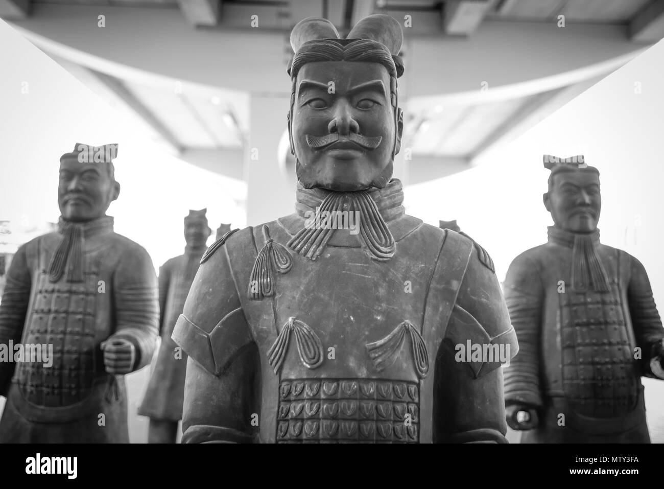 Group of Chinese terracotta soldiers. Reproduction of the famous statues of Xian, China - Stock Image