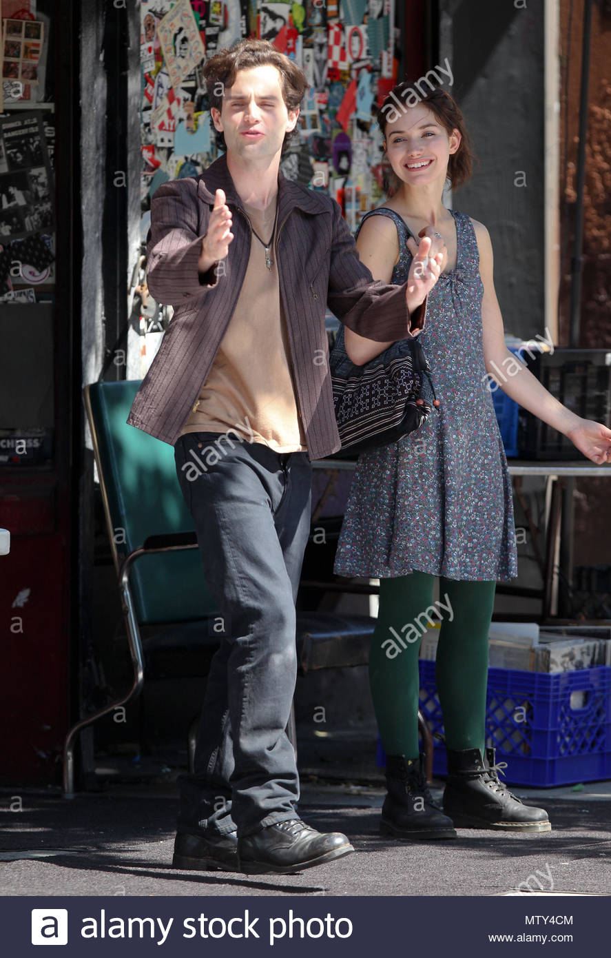 Imogen poots and penn badgley british actress imogen poots and penn british actress imogen poots and penn badgley seen filming a movie greetings from tim buckley in new york city usa m4hsunfo