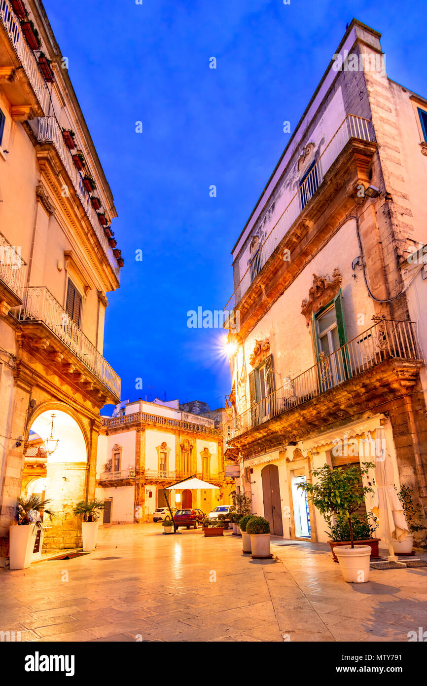 Martina Franca, Puglia, Italy: Piazza del Plebiscito with Saint Martin Basilica and Palazzo della Corte, Apulia - Stock Image