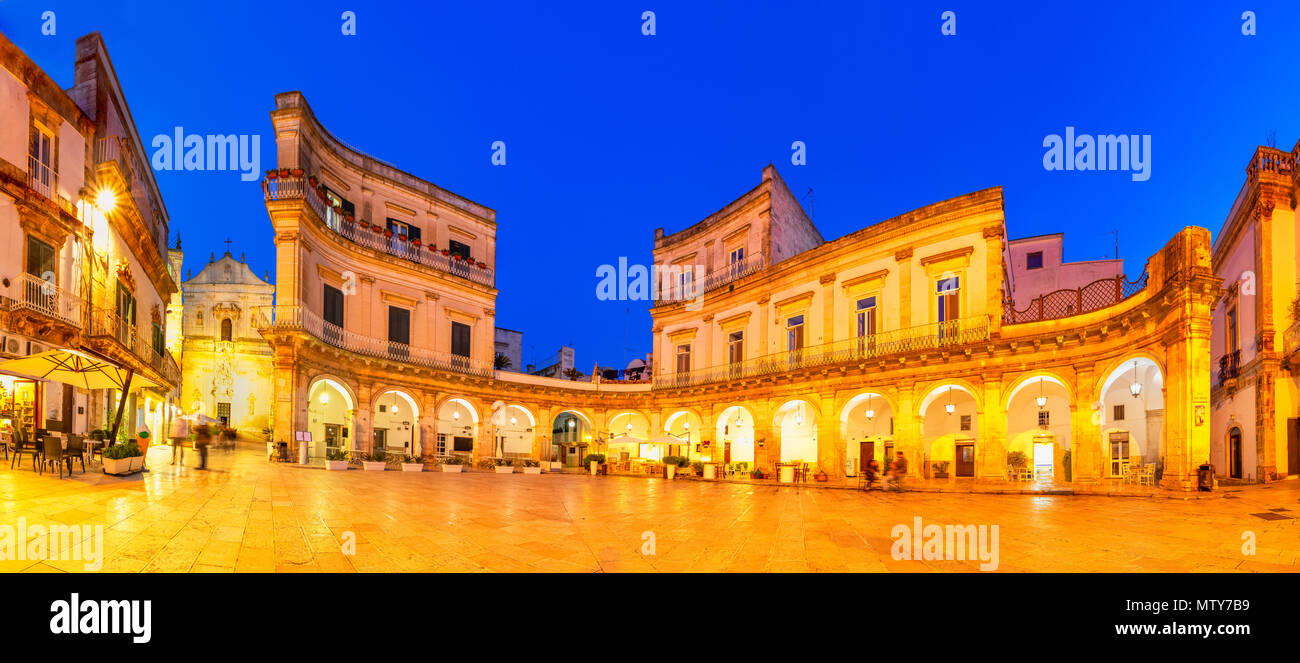 Martina Franca, Puglia, Italy: Night view of the Piazza Plebiscito and the Cathedral st. Martin, Apulia - Stock Image