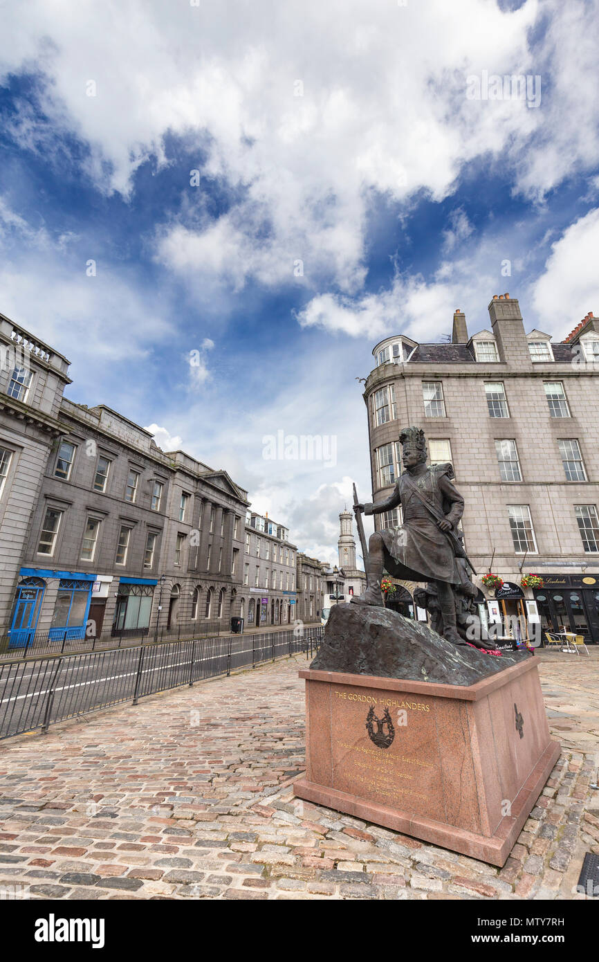 ABERDEEN, UNITED KINGDOM - AUGUST 3: Blue sky and the Gordon Highlanders statue in the city of Aberdeen, United Kingdom on August 3, 2016. Stock Photo
