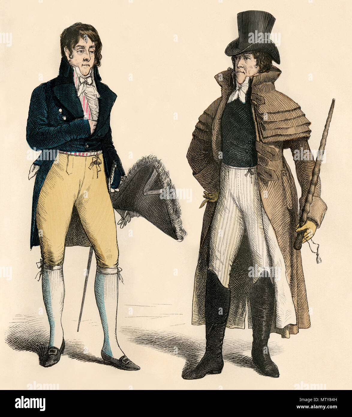 Court dress and man in garrick, French Empire, early 1800s. Hand-colored print - Stock Image
