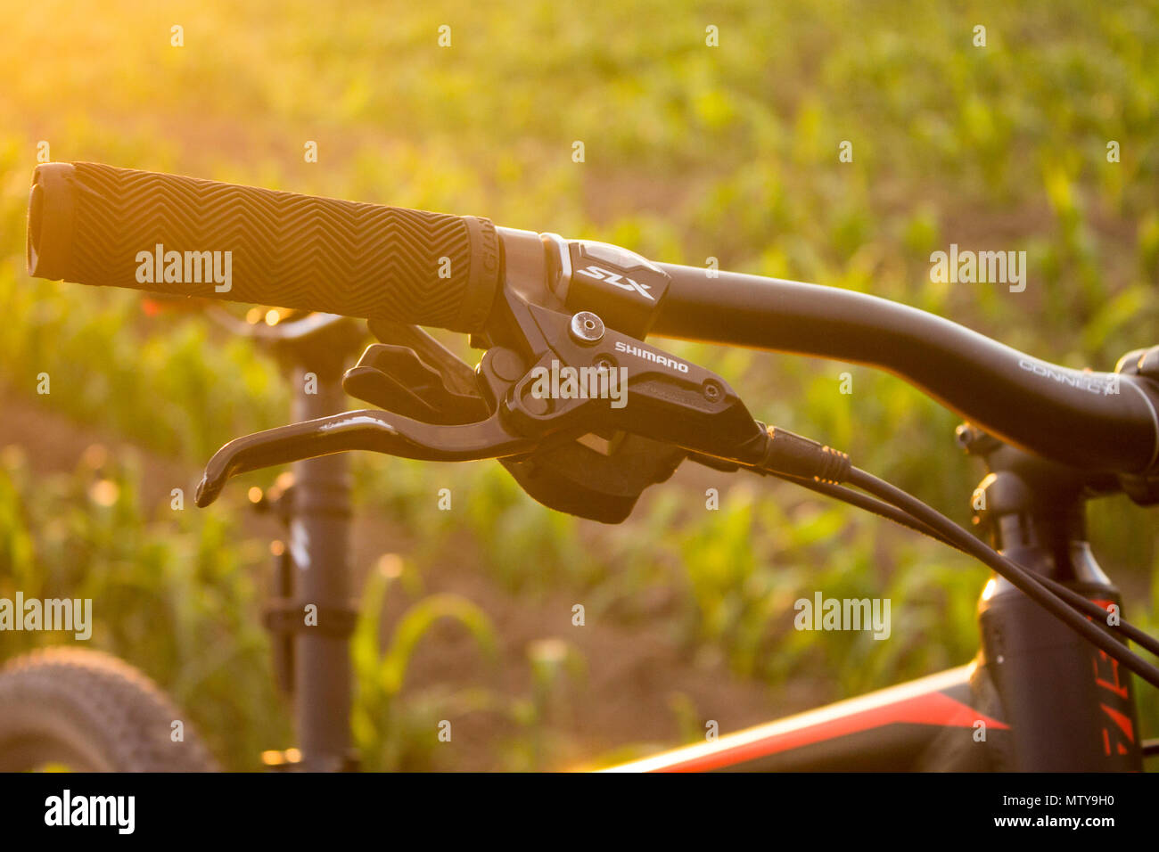 Tlaxcala, Mexico - May 27.2018. Shimano is a japanese company manufacturing brakes and shifters for the cycling industry since 1983 - Stock Image