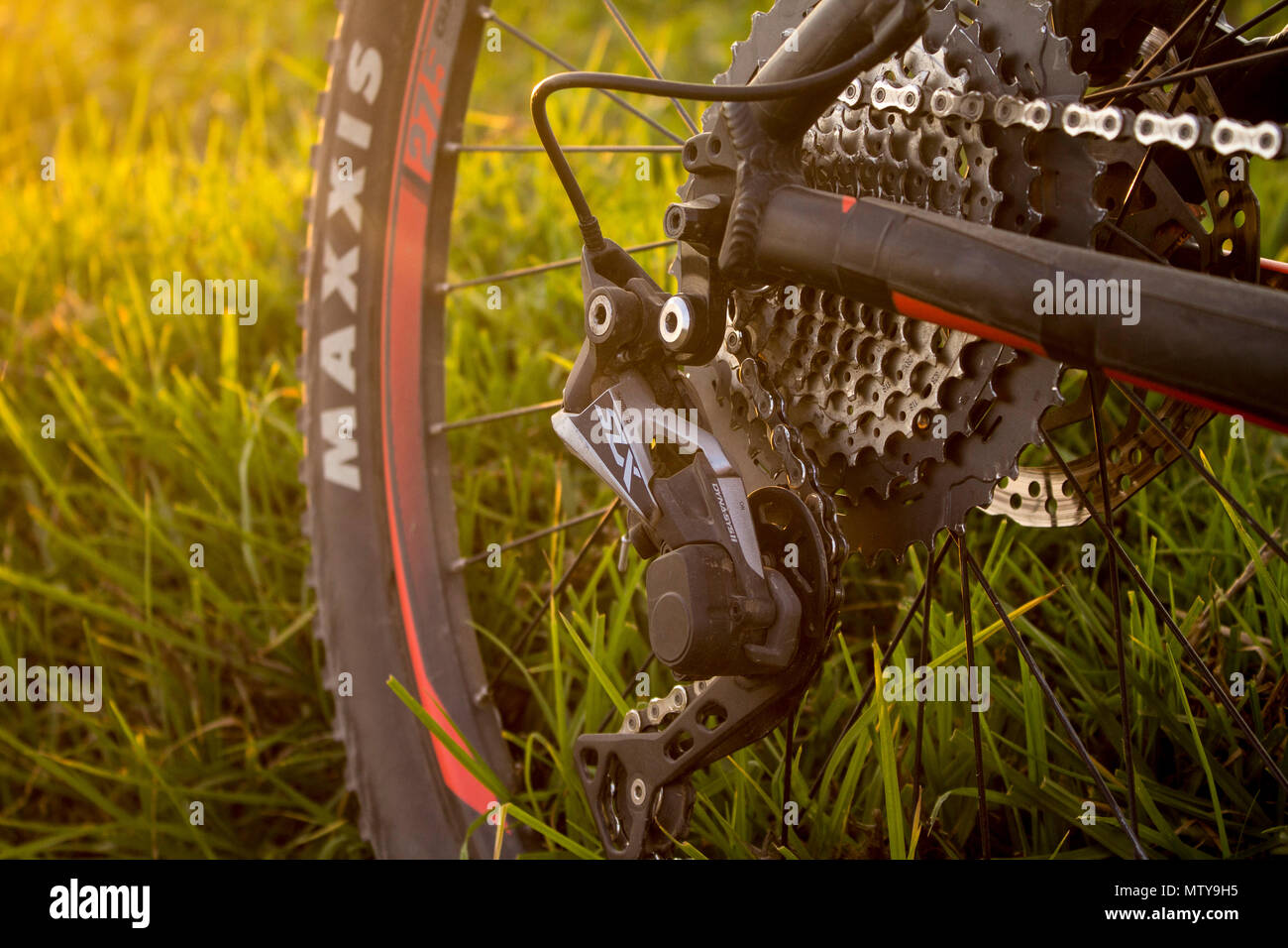 Tlaxcala, Mexico - May 27.2018. Shimano SLX 1x11 drivetrain groupset were introduced in 2017 by the japanese company shimano - Stock Image