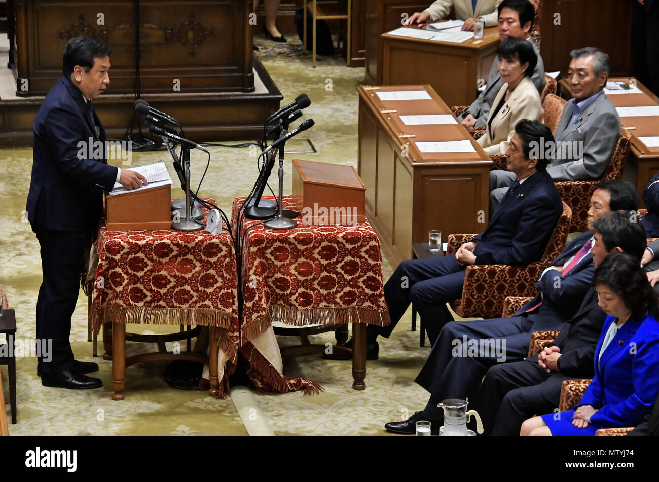 Tokyo, Japan. 30th May 2018. Wednesday. 30th May, 2018. Yukio Edano, leader of the opposition Constitutional Democratic Party of Japan, asks Prime Minister Shinzo Abe questions during a question time in the Diet lower chamber in Tokyo on Wednesday, May 30, 2018. Credit: AFLO/Alamy Live News - Stock Image