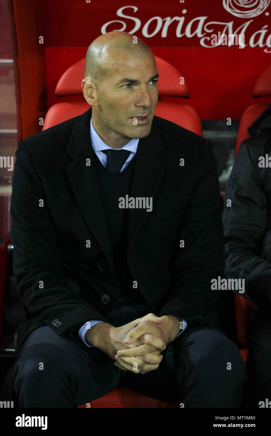 Real Madrid´s  coach Zidane during Copa del Rey match between Numancia and Real Madrid  at the Los Pajaritos stadium in Soria, thursday Jan 4th 2018.  Zinedine Zidane announces his retirement as coach of Real Madrid - Stock Image