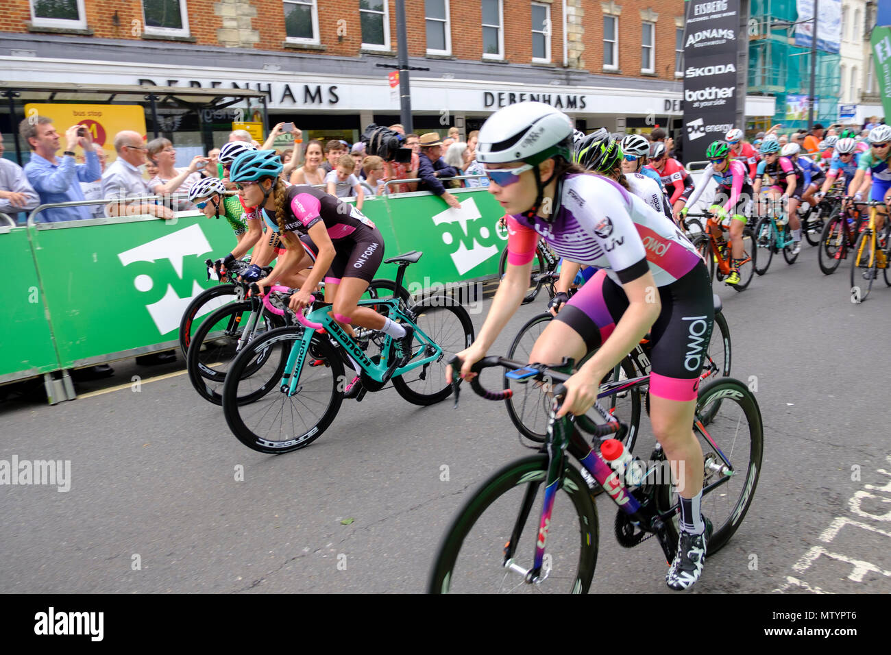 Salisbury, UK. 31st May 2018 Salisbury. Part of the recovery programme for Salisbury after recently nerve agent attack, the city hosted the finals of the elite OVO Energy Tour Series. Wiltshire Council and Salisbury City Council supported the race, which took place in Wiltshire for the first time as part of the Salisbury recovery programme. The prestigious tour reach its exciting climax, when the men's and women's teams race for victory after competing in eight previous rounds in different cities. Credit: © pcp/ Alamy Stock Photo (Default)/Alamy Live News Stock Photo